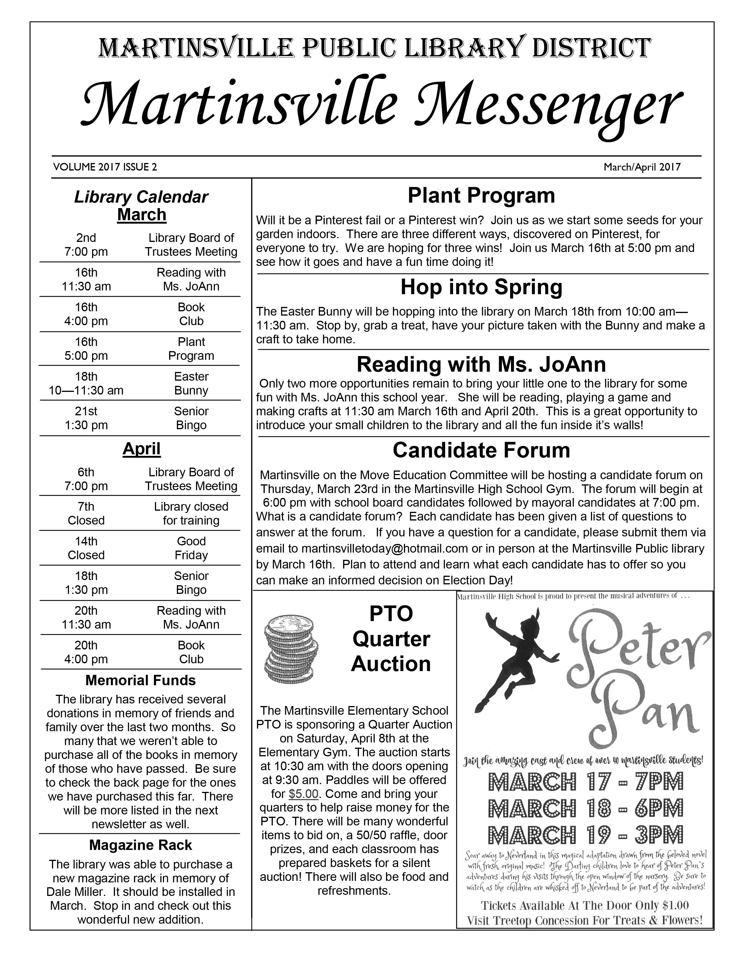 2017 Library Newsletter March – April