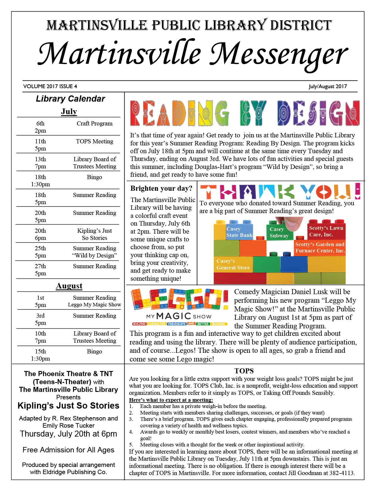 2017 Library Newsletter July and August