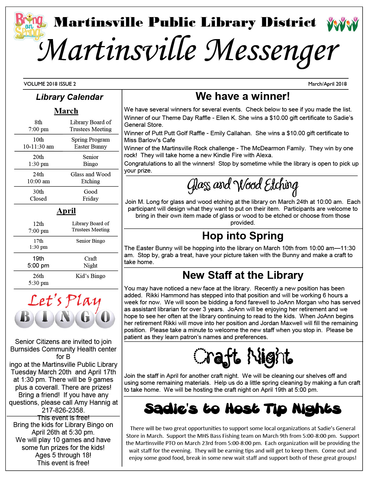 2018 Library Newsletter March and April