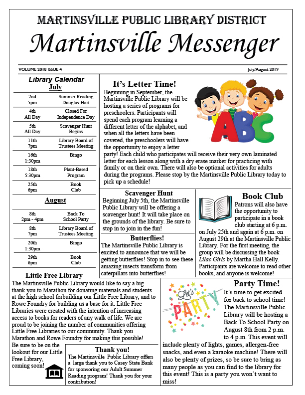 2019 Library Newsletter July / August